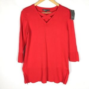 89th & Madison red knit sweater tunic blouse top